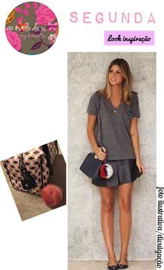 Minha inspiração para esta segunda feira !!! Tee malha cinza + saia couro +bolsa transversal * *você pode substituir por uma bolsa baú (modelo da foto)