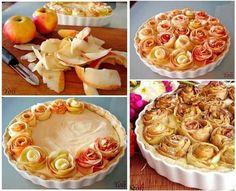 """Розочки можно приготовить не только из теста. Для этой цели прекрасно подойдут и сочные фрукты. Например, сладкие яблоки. С помощью овощечистки нарежьте мякоть хаотичными кусочками. Затем аккуратно выложите из яблочных ломтиков """"розочки"""". Влейте тесто в форму для выпекания и украсьте пирог сверху. Запекайте в предварительно разогретой духовке столько времени, сколько указано в рецепте."""