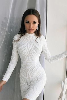 chic jewel long sleeves short white homecoming cocktail dress#homecoming#cocktail