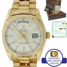 MINT Rolex Day-Date President 36mm 18038 18K Yellow Gold Silver Stick Watch B&P