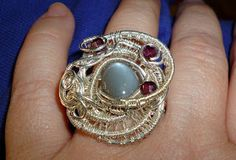 Grey Moonstone (Adularia) and Garnets in Sterling Silver