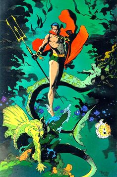 Sub-mariner (Namor) Pinup. Inks and Colors: Mike Mignola (Apr (Marvel Fanfare # pin-up, page namor_mike_mignola. Comic Book Artists, Comic Book Characters, Comic Artist, Marvel Characters, Comic Character, Comic Books Art, Mike Mignola Art, Spiderman, Batman