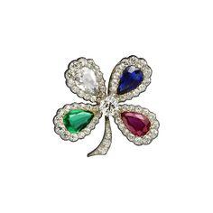 Cartier Antique Clip Brooch. Platinum, pink gold, yellow gold, emerald, ruby, sapphire, diamonds. Cartier, circa 1900. The brooch can be worn as a pendant © Cartier. Biennale des Antiquaires 2014, Paris