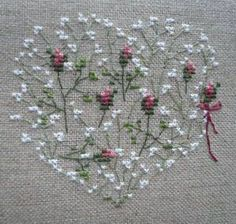 baby's breath and rose buds heart / minik güller Just Cross Stitch, Cross Stitch Heart, Cross Stitch Flowers, Counted Cross Stitch Patterns, Cross Stitch Designs, Embroidery Hearts, Ribbon Embroidery, Cross Stitch Embroidery, Cross Stitching