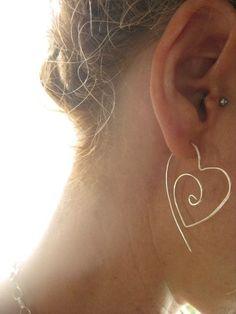 Sterling Silver Tribal Heart Hoop Earrings by LotusHandmadeHoops $24.00