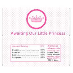 INSTANT DOWNLOAD Pink Princess Baby Shower Candy Bar Wrapper - Baby Shower Items Girl Decorations Baby Shower Favors Party Supplies