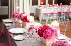 rosa Hortensien Windlichter am Tisch originelle Deko