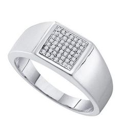 Sterling Silver 0.15CTW DIAMOND MICRO PAVE MENS RING: Rings