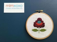 Boho Chic Flower Embroidery KIT by mlmxoxo. Modern Embroidery, Learn Embroidery, Embroidery For Beginners, Hand Embroidery Designs, Embroidery Kits, Vintage Embroidery, Embroidery Techniques, Flower Embroidery, Hungarian Embroidery
