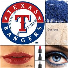 Let's go out to the ball game wearing our Younique 3D Fiber Lash Mascara, lip gloss and mineral pigments!  http://www.hellolovelylashes.com #younique #3DFiberlashmascara #texasrangers