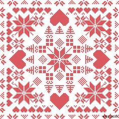 Vector: Scandinavian style Nordic winter stich , knitting seamless pattern in the square shape including snowflakes, xmas gifts, xmas trees, hearts and Decorative elements in red Scandinavian Style, Scandinavian Quilts, Scandinavian Embroidery, Swedish Embroidery, Cross Stitch Pillow, Cross Stitch Heart, Cross Stitch Borders, Cross Stitch Designs, Cross Stitch Patterns