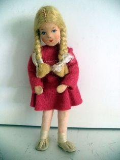 "Vintage German Erna Meyer Cloth Stockinet Girl Doll Germany Stockinette 4 1/2"""