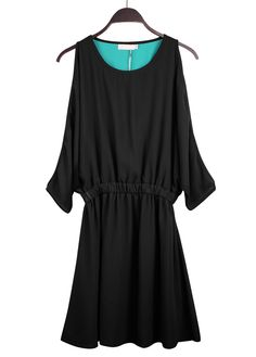 #SheInside Black Off the Shoulder Bandeau Loose Chiffon Dress