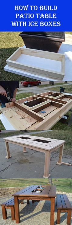 DIY Patio Table With Built-In Ice Boxes