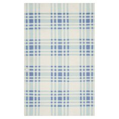 Hand-woven wool rug with a blue plaid motif.  Product: RugConstruction Material: 100% WoolColor: