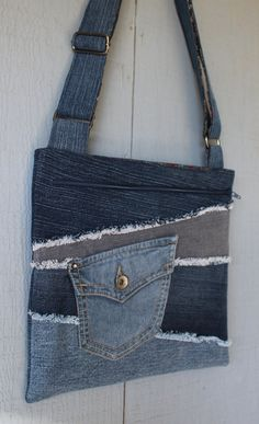 Denim Cross Body with Frayed Denim Patchwork, Front Pocket, Large Front Zipper Pocket, Adjustable Strap - Blue, Red and Gold Paisley Cotton by AllintheJeans on Etsy