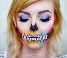 Rainbow skull makeup done by @AdriMermaid on Instagram