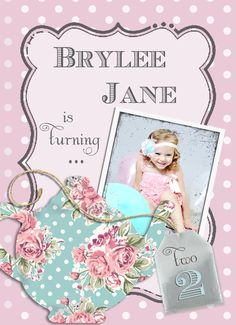 Vintage Pink and Aqua Flat Tea Party Photo Birthday Invitation by LittleStarStudios, $1.75