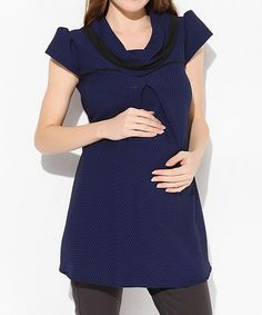Look what I found on #zulily! Navy Blue Maternity Cowl Neck Tunic by  #zulilyfinds