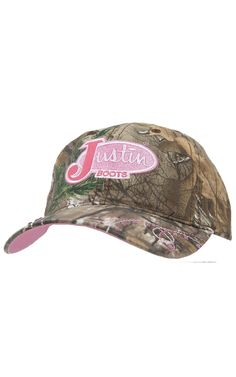6b3380e207549 Justin Boots® Camo with Pink Logo  amp  Rhinestones Cap Country Hats