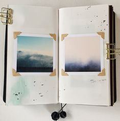 journal. Simple with oone pic at the center, and all around corner holders.
