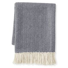 Mini Chevron Cotton Throw, Navy #williamssonoma  be sure and use code Holiday for 20% off