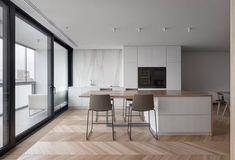 Carat Apartment by Drozdov & Partners | HomeAdore HomeAdore Apartment Projects, Apartment Interior Design, Interior Design Kitchen, Level Homes, Private Room, Custom Furniture, Master Bathroom, Layout Design, Ukraine