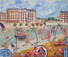 """Paris Plage """"Hommage à Dubout"""" - Huile sur toile - 54 x 65 cm. Claude, Naive Art, Painting, Collection, Oil On Canvas, Painting Art, Paintings, Drawings"""