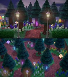🌷hyacinth forest 🌟🍄inspired by custom paths (full album of forest + OP post in comments! Animal Crossing Memes, Animal Crossing Villagers, Animal Crossing Qr Codes Clothes, Magical Forest, Forest Fairy, Path Design, Design Ideas, Island Design, Animal Games