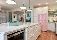 Love this pink Big Chill brand fridge!  I still love my vintage avocado fridge, needs fixing though. ~Deborah. What Ever Happened To Pastel Kitchen Appliances?