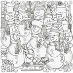 Cheerful snowmen. Winter, snow, sled, snow, trees, hats, carrot, buttons, threads. Merry Christmas, Happy New Year. Pattern for coloring book. Black and white.  Made by trace from sketch.