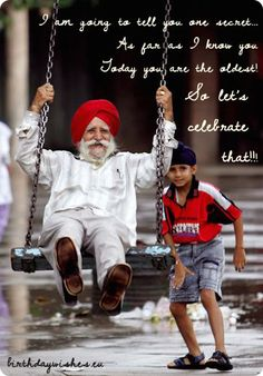 Never too old to be young at heart! child pushing india man in red turban in swing playing Robert Louis Stevenson, Never Too Old, Never Too Late, We Are The World, People Around The World, Life Is Beautiful, Beautiful People, Beautiful Morning, Old Age