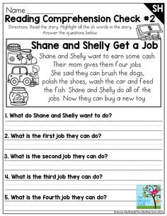 Reading Comprehension Check- SH Digraph.  This is in the SH Digraph NO PREP Packet where there are TONS of great activities to teach beginning and ending digraphs.