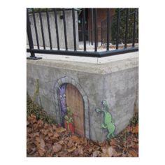 Temporary street art by chalk artist David Zinn of Ann Arbor, Michigan. See other examples of his work at www.zinnart.com, sluggoonthestreet.tumblr.com or www.facebook.com/DavidZinnIllustration. image ©2012 David Zinn