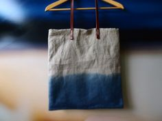 Make / Ombre tote bag with leather handles Misty Ocean Blue Organic dip dyed natural Indigo linen easy