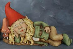 Female Gnomes Statue | Cute Unpainted Ceramic Sleeping Girl Garden Gnome Statue [Twilight]