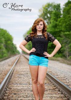 Senior girl railroad tracks O'Hare Photography