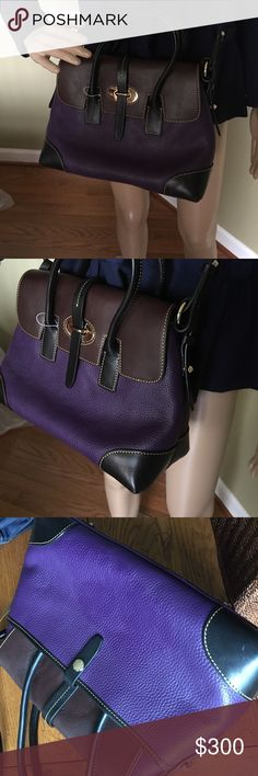 """Elisa Leather bag Gorgeous colors purple black and brown great with any outfit 12.5"""" x 8.5"""" super cute Dooney & Bourke Bags Satchels"""
