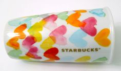 New 2015 Starbucks Ceramic Travel Coffee Mug Watercolor Hearts 10 Oz. Colorful #Starbucks