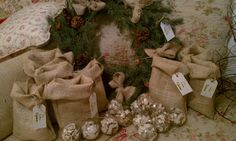DIY Christmas Decor _ CUTE idea using burlap bags instead of stockings