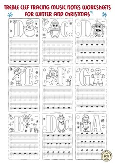 Learn To Read Music A set of 26 music worksheets {Winter and Christmas themed} is created to help your students learn to trace, copy, color and draw notes on the staff {Treble pitch}. {C first – A second octaves} Music Lessons For Kids, Music For Kids, Piano Lessons, Easy Piano Sheet Music, Piano Music, Piano Songs, Preschool Music, Music Activities, Music Theory Worksheets