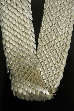 Scales Neck Piece in sterling silver and 18k yellow gold by Jon M Ryan, USA. 2009.