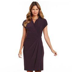 Chaps Surplice Faux-Wrap Dress - Women's Plus