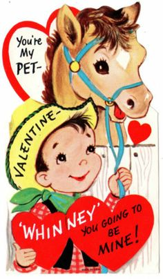 Cowboy with His Horse You're My Pet Vintage Valentine Greeting Card | eBay