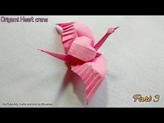 Origami Heart crane, valentine day special origami gift for your love Hello friends, I'm Bhushan welcome to My C. Origami Star Box, Origami Ball, Origami Love, Origami Design, Origami Hearts, Origami Cranes, Dollar Origami, Paper Cranes, Origami Flowers