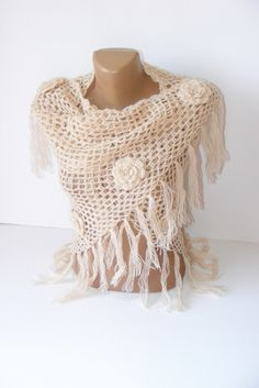 SALE ivory shawlReady to Shippingcrochet shawlwarmbest by seno, $60.00