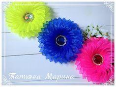 МК Воздушные яркие цветочки из узкой органзы ️/Bright flowers/Flores brilhantes - YouTube