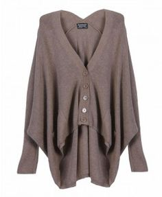 Deep V Neckline High Low Cardigan with Batwing Sleeves