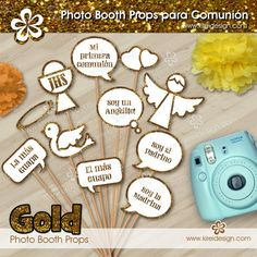 Photobooth Comunion Gold - Kireidesign First Communion Party, First Holy Communion, Ideas Para Fiestas, Photo Booth Props, Christening, Diy And Crafts, Education, Eucharist, Moldings