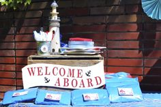"""""""Welcome Aboard!"""" sign"""